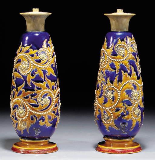 A pair of stoneware Doulton La