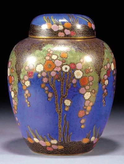 A Crown Devon ginger jar and c