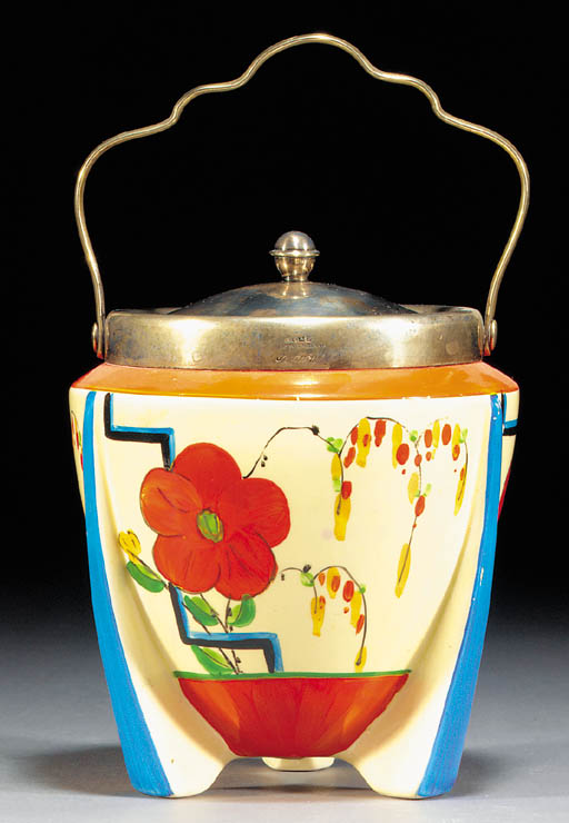 A Clarice Cliff biscuit barrel