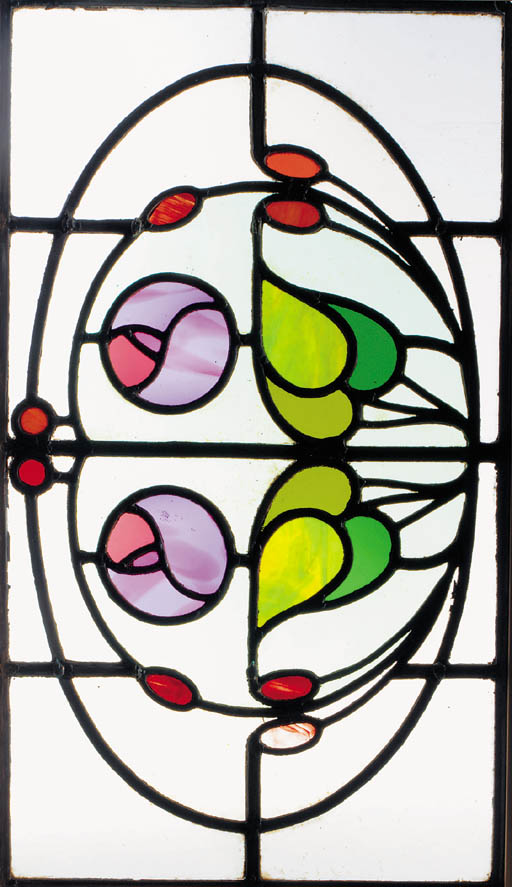 A pair of Art Nouveau stained
