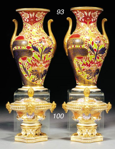A pair of English porcelain tw