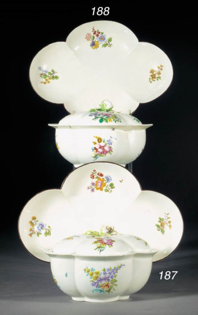 A Chantilly quatrefoil tureen,