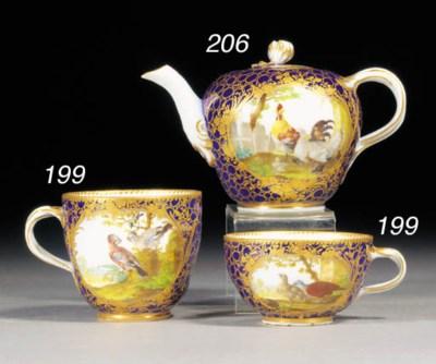 A Meissen dark-blue-ground tea