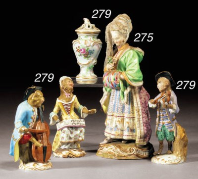 Three Meissen 'Monkey Band' fi