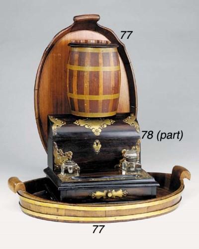 A mahogany and brass banded ov