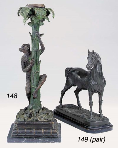 A pair of patinated spelter mo