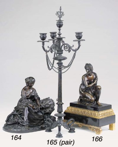 A French bronze group of a gir