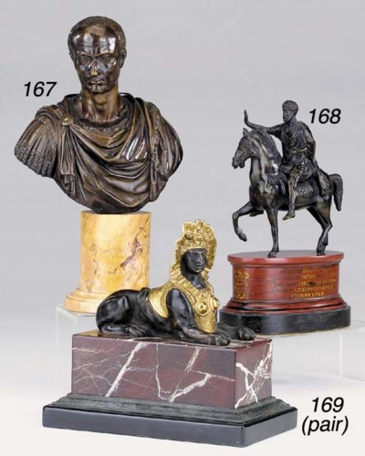 A French bronze bust of Julius