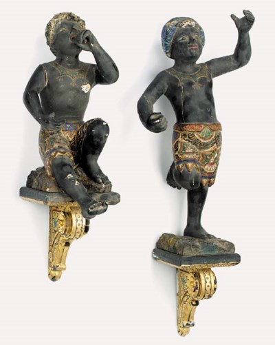A pair of Italian carved and p