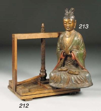 A wood book press, 19th centur