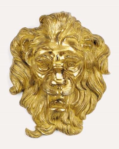 A Continental gilt bronze lion