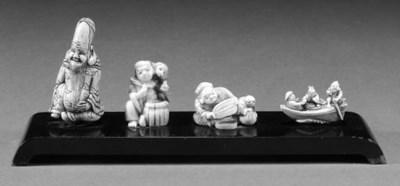 Four ivory netsuke 19th Centur