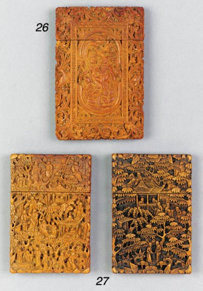 Two Chinese sandalwood card ca