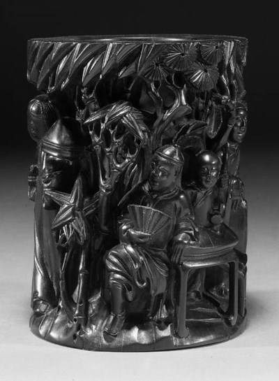 A Chinese carved wood brushpot