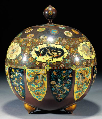 A large Japanese cloisonne sph