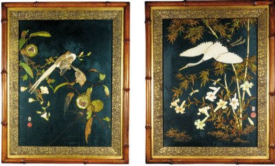 A pair of Japanese lacquer and
