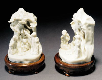 A pair of blanc de chine monke