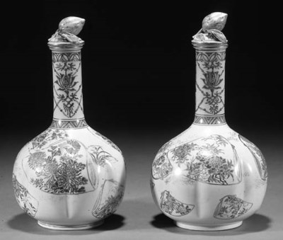 A pair of Satsuma lobed bottle