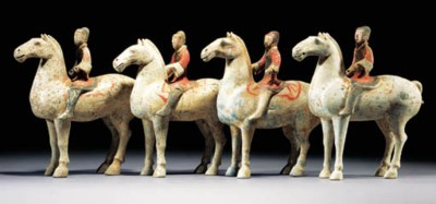 Four Han painted pottery horse