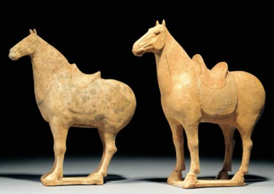 Two Tang pottery models of hor