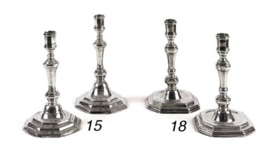 Two French silver candlesticks