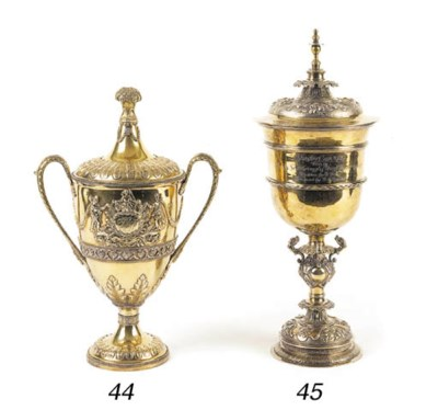 A modern silver-gilt cup and c