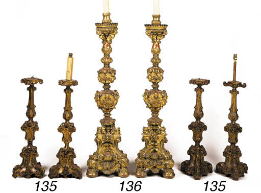 A set of four Italian carved g