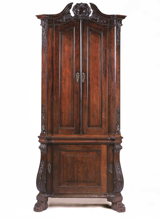 A Dutch mahogany cupboard