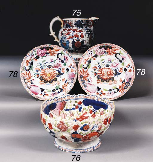 Two English ironstone Imari pl