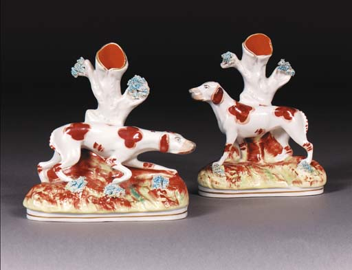 A pair of Staffordshire spill