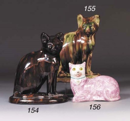 A pottery treacle-glazed model