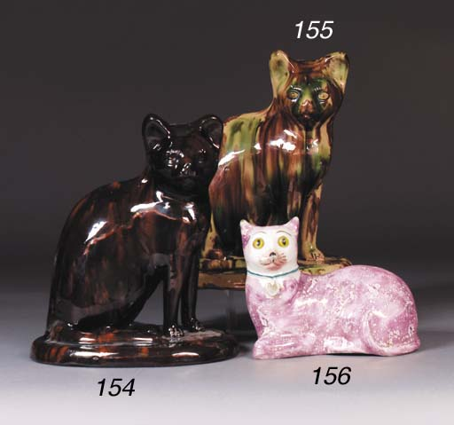 A pottery model of a cat