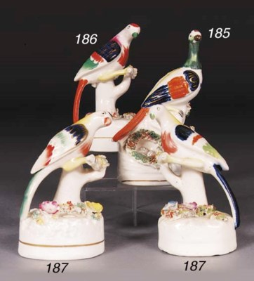 Two Staffordshire exotic bird