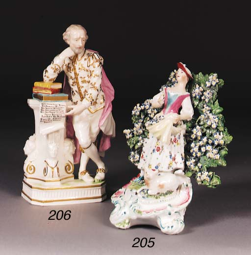 A Derby figure of Shakespeare
