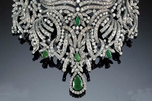 An emerald and diamond tiara,