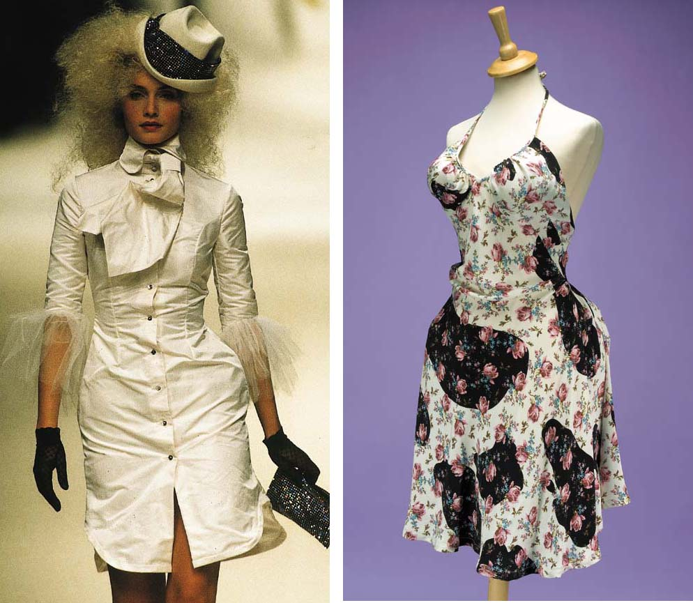 A rose and fawn print halter neck dress, with black foundation; a silk taffeta shirt dress trimmed in tulle, with diamond buttons and matching tie; a felt trilby with diamanté head band; and a magnolia duchess milk maid skirt and corset