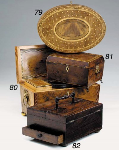A Regency burr yew workbox, ea