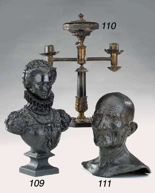 A William IV brass colza oil lamp, second quarter 19th century