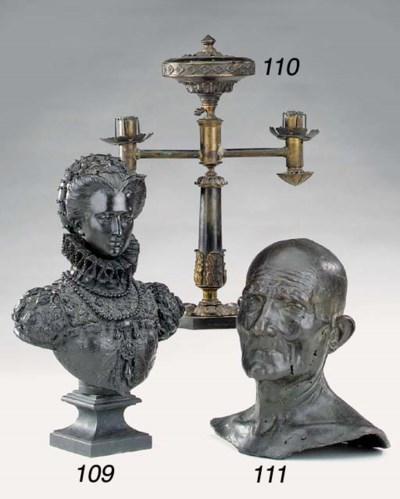 A bronze bust of an old man, 2