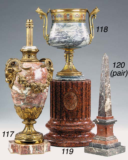 A French gilt bronze mounted variegated grey marble urn, late 19th century