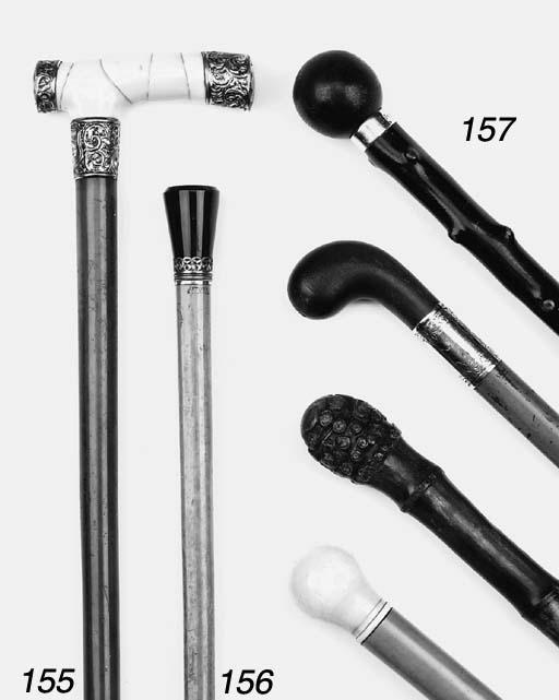 An English malacca and ivory mounted walking stick, late 19th century