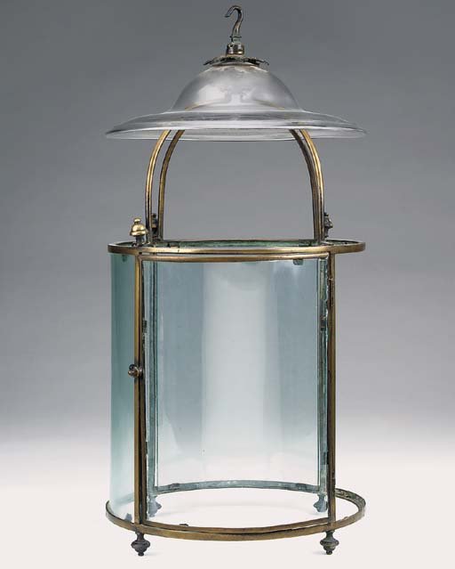 An English glazed brass hall lantern, 19th century