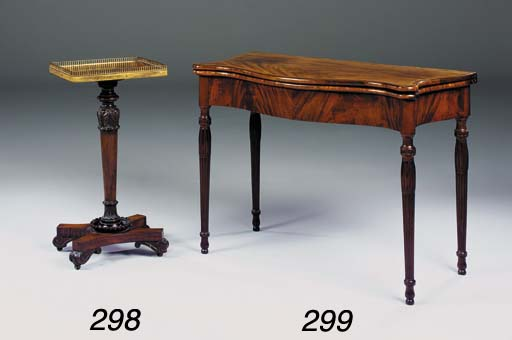 A GEORGE III FLAME MAHOGANY SERPENTINE FRONTED CARD TABLE