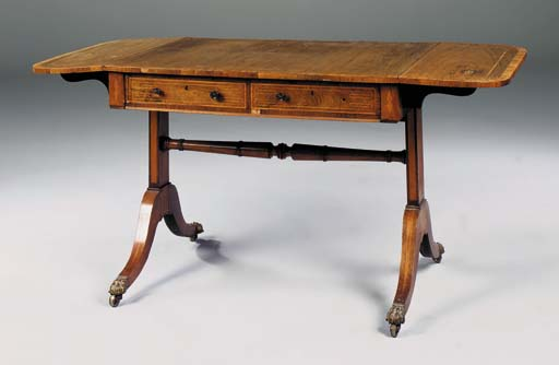 A REGENCY, ROSEWOOD, CROSSBANDED AND MARQUETRY SOFA TABLE