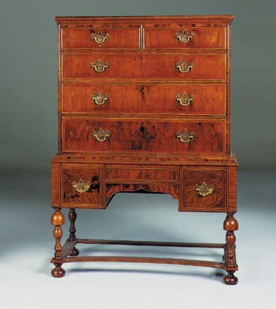 A walnut chest on stand, 18th