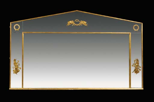 A gilt metal mounted overmantel mirror, 20th century