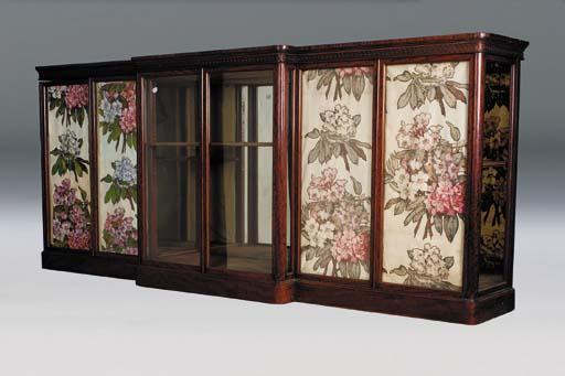 A Victorian mahogany breakfront display cabinet