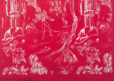 Two designs on red paper, with