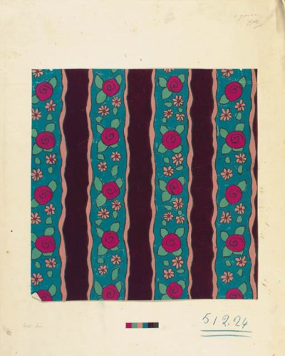 Two designs for textiles, rose