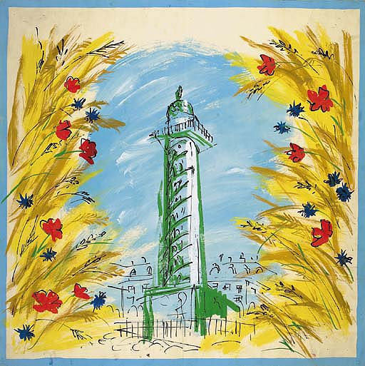 Place Vendôme framed with corn, poppies and corn flowers in the style of Dufy, design No.1104 for a scarf - 1957 ; and twenty-four designs for scarves including one for Marcel Rochas (a photograph); two signed M. Flandin; one entitled Symphonie Portugaise; three stamped M. Bonhomme, 7 Rue Sarasite Paris XVe; and one of butterflies signed Gitt - 1957 See Illustration 	 (25)